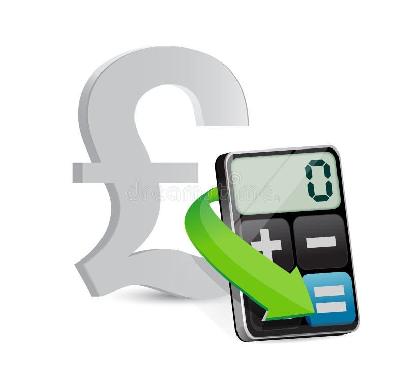 Pound and modern calculator. Illustration design over white royalty free illustration