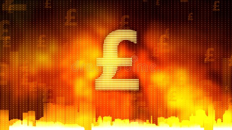 Pound sign against fiery background, money rules the world, greed, obsession stock photo