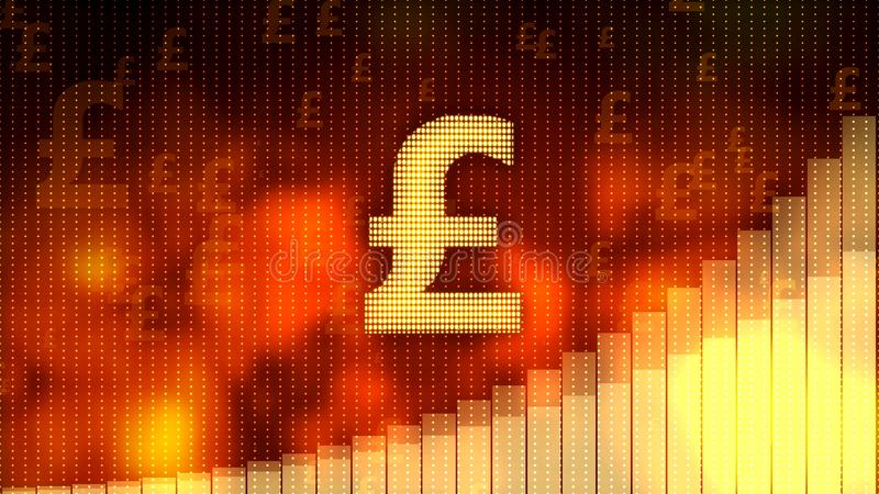 Pound sign, currency growth graph on red background, financial crisis averted royalty free stock photography