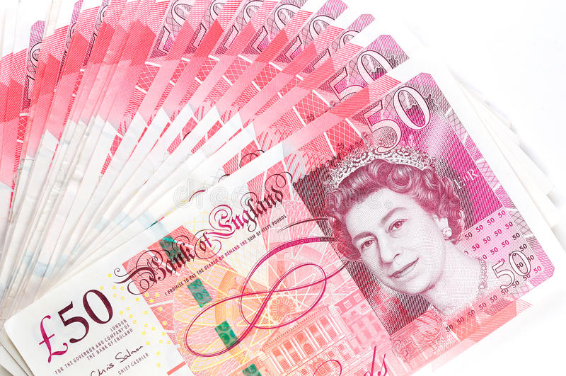 50 pound sterling bank notes stock photos