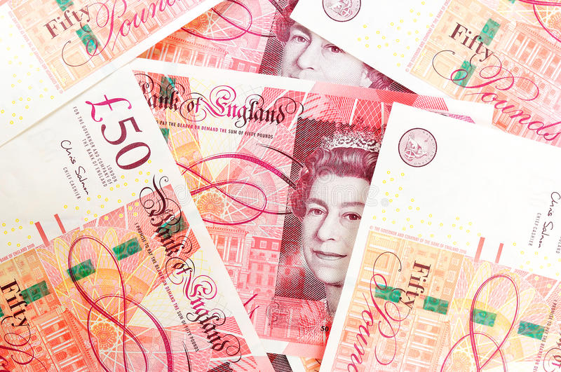50 pound sterling bank notes stock photography