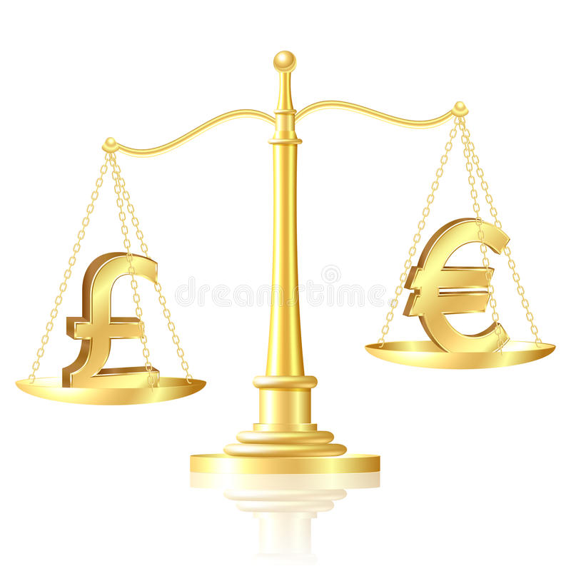 Download Pound Sterling Outweighs Pound Sterling On Scales. Stock Photo - Image: 26347630