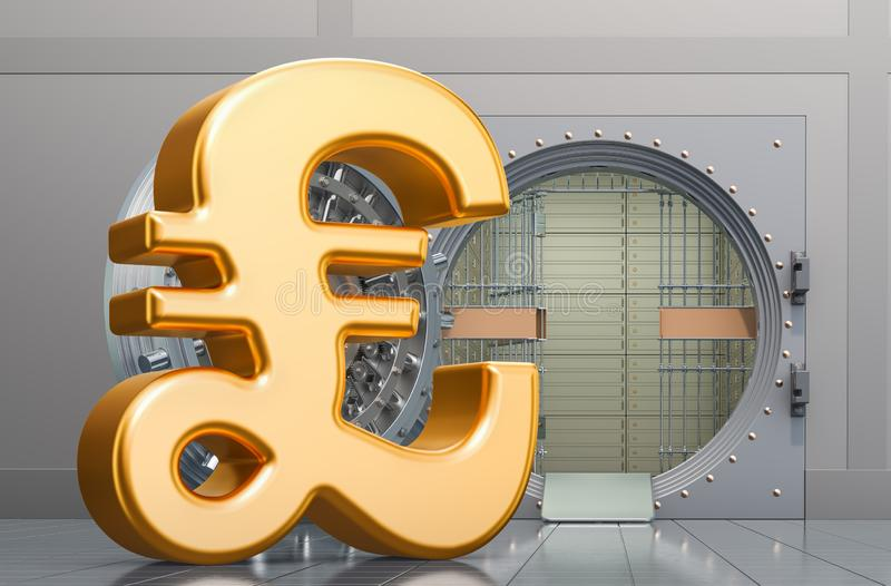 Pound sterling sign with opened bank vault, 3D. Rendering vector illustration