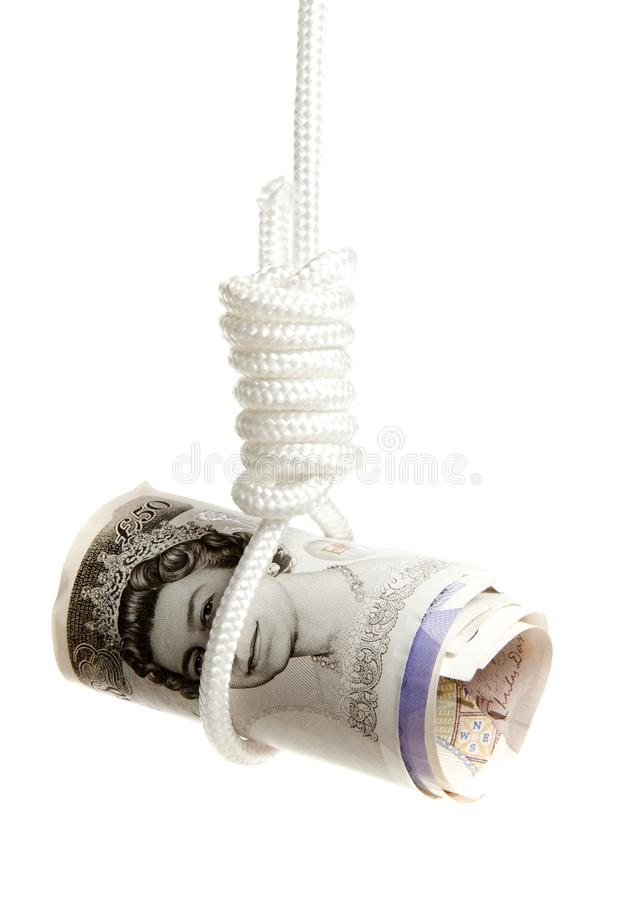 Pound sterling under pressure. Interpretation of the world wide problems in the financial world stock image