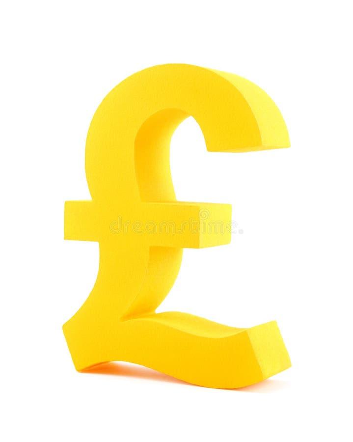 Pound symbol. Golden pound symbol isolated on white stock photo