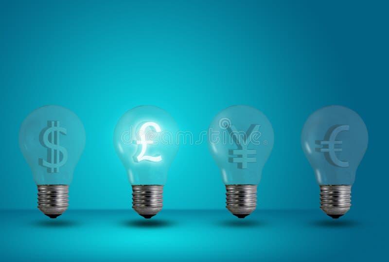 Pound symbol glow among other light bulb