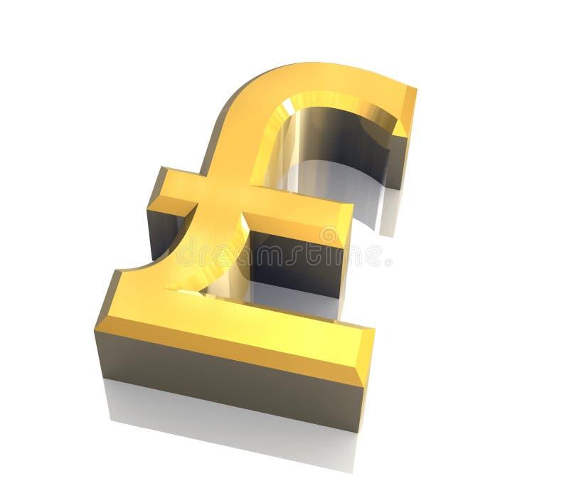 Pound symbol in gold (3D) stock illustration