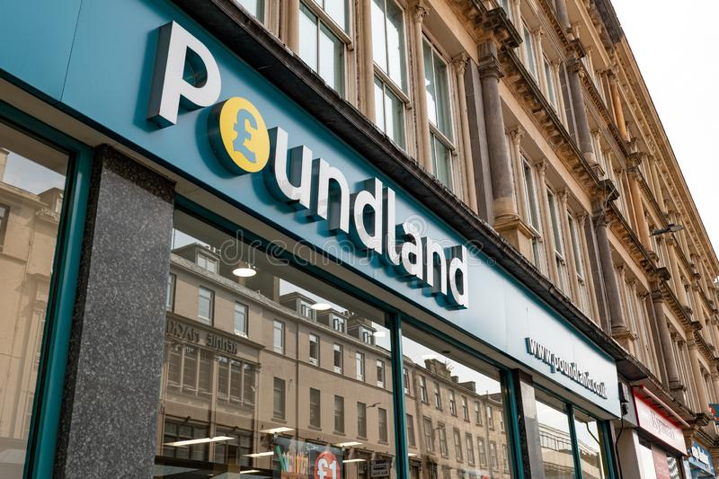 The Poundland shop in Great Britain where one can buy everything at the price of one pound or very cheap stock images