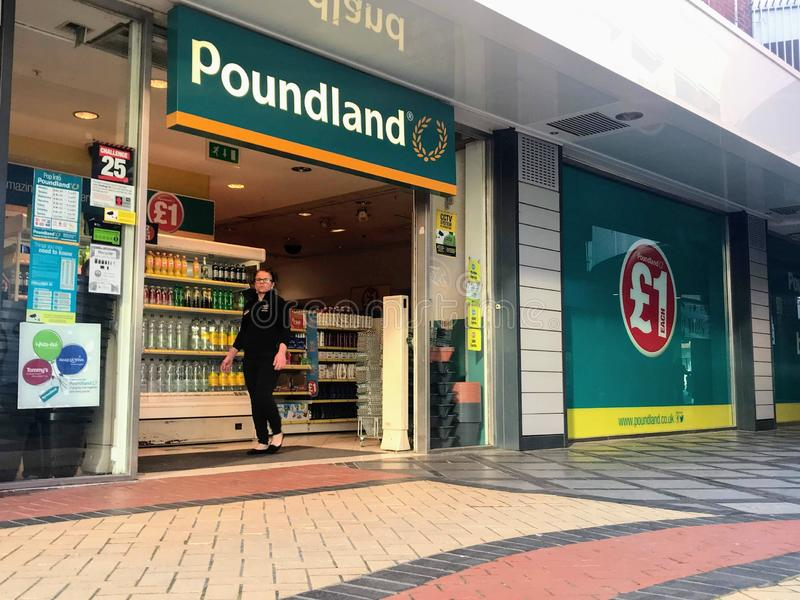 Poundland store. Poundland is a British variety store chain founded in 1990, selling most items at the single price of £1, including clearance items and royalty free stock images