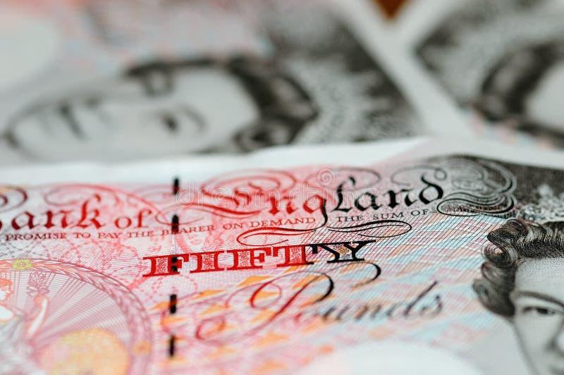 Pounds Anmerkung - Anmerkung fünfzig lizenzfreie stockbilder