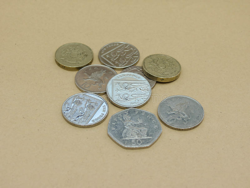 Pounds. British Pounds coins (currency of United Kingdom stock images