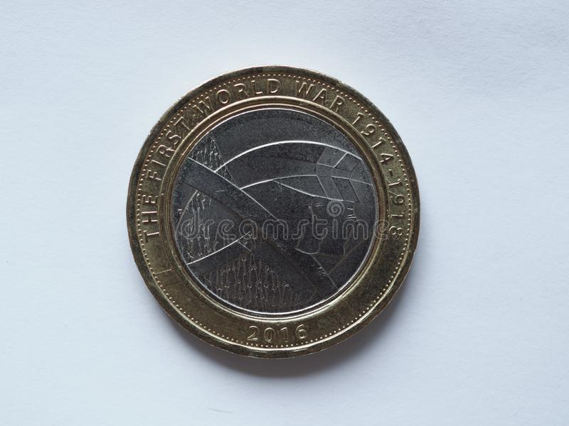 2 pounds coin, United Kingdom royalty free stock image