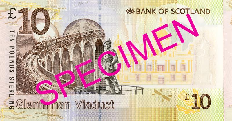 10 Pounds Sterling note issued by Bank of Scotland specimen obverse. Single 10 Pounds Sterling note issued by Bank of Scotland specimen obverse royalty free stock photography