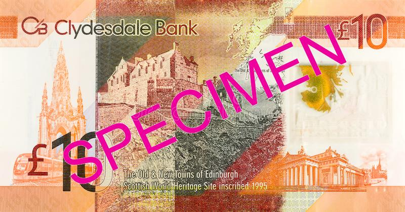 10 Pounds Sterling note issued by Clydesdale Bank PLC specimen obverse. Single 10 Pounds Sterling note issued by Clydesdale Bank PLC specimen obverse stock photo