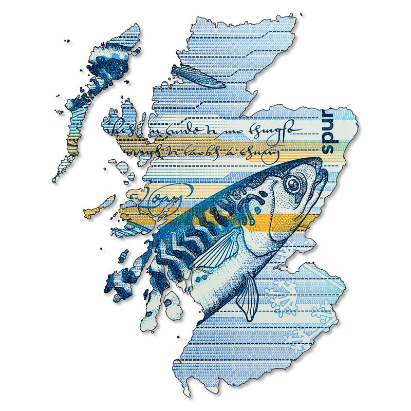 5 Pounds Sterling note issued by Royal Bank of Scotland obverse in shape of Scotland. A 5 Pounds Sterling note issued by Royal Bank of Scotland obverse in shape royalty free stock image