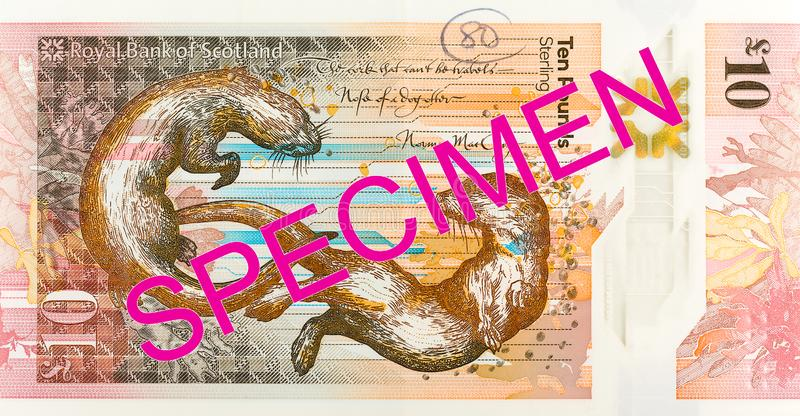 10 Pounds Sterling note issued by Royal Bank of Scotland specimen obverse. Single 10 Pounds Sterling note issued by Royal Bank of Scotland specimen obverse royalty free stock image