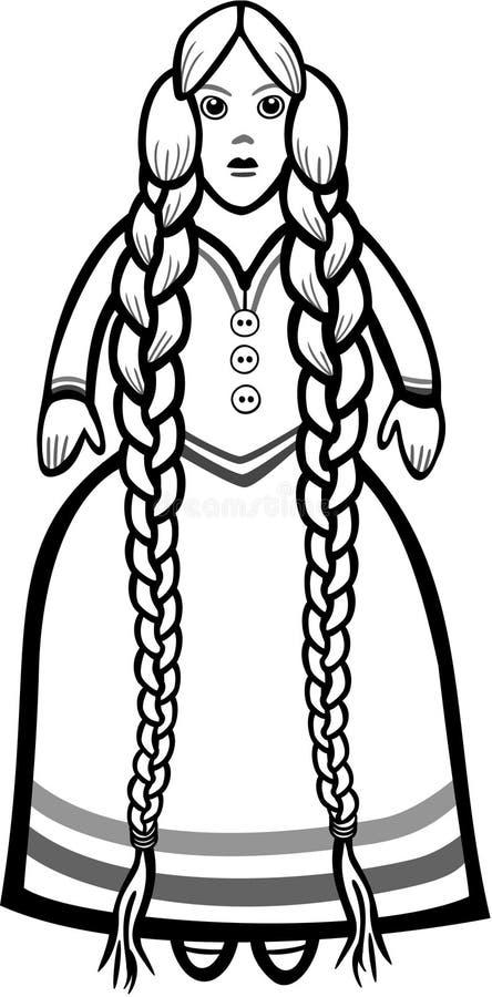 Poupée avec les cheveux tressés illustration libre de droits
