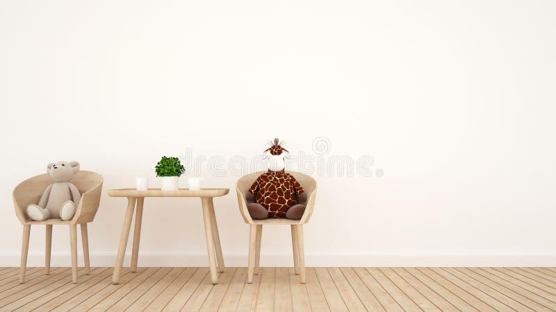 Poupée d'ours et poupée de girafe sur la salle à manger ou la pièce d'enfant - rendu 3D illustration libre de droits