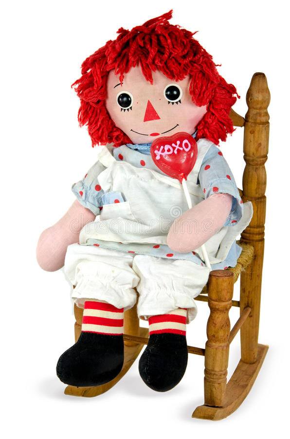 poupée de chiffon avec la lucette rouge de coeur image libre de droits