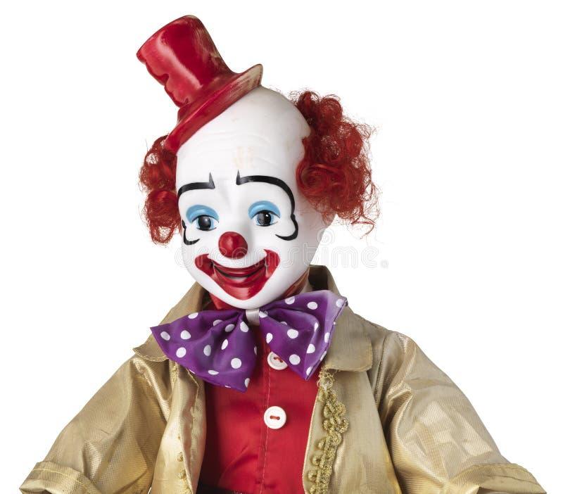 Poupée de clown avec le chapeau d'agrostide blanche et le noeud papillon repéré photos stock