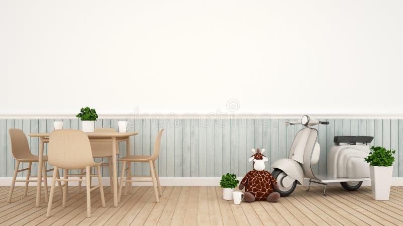 Poupée de girafe et moto de cru dans la salle à manger - rendu 3D illustration libre de droits