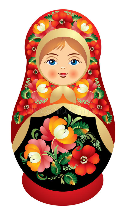 Poupée de Matryoshka avec la fleur o de la Russie illustration stock