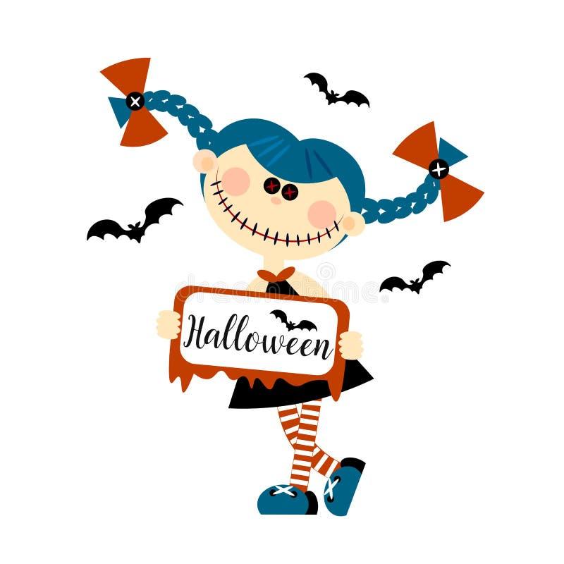 Poupée de monstre de Halloween Les yeux sont des boutons inscription Carte de vacances d'invitation Style plat Vecteur illustration stock