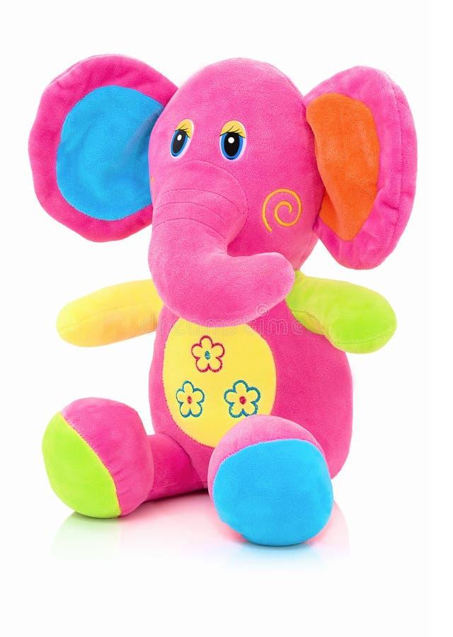 Poupée de plushie d'éléphant d'isolement sur le fond blanc avec la réflexion d'ombre Marionnette bourrée par peluche d'éléphant s images libres de droits
