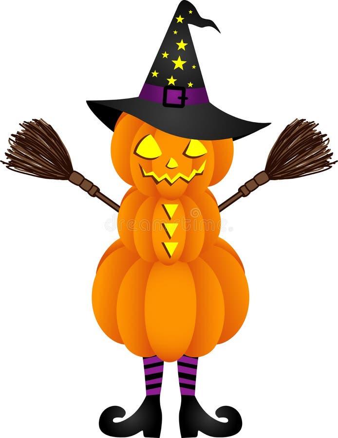 Poupée de potiron de Halloween avec le chapeau de sorcière illustration libre de droits