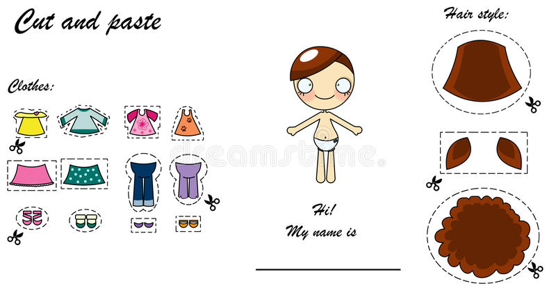 Poupée de robe de découpage et déplacement