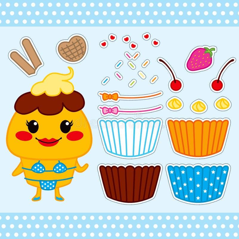 Poupée mignonne de papier de gâteau illustration stock