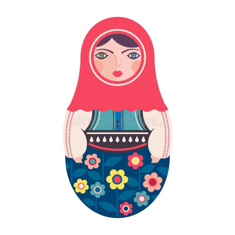 Poupée traditionnelle d'emboîtement de Matryoshka de Russe illustration stock