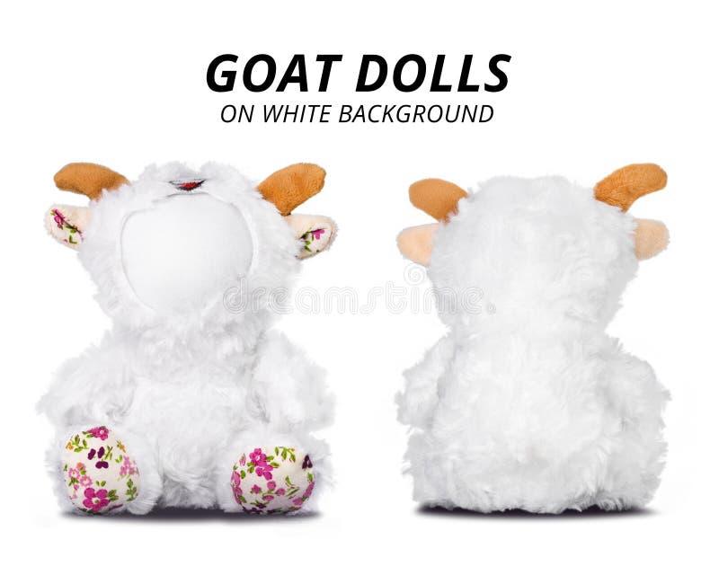Poupées de chèvre d'isolement sur le fond blanc Visage vide pour votre conception images stock