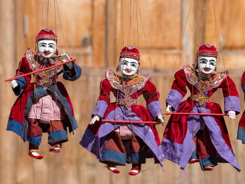 Poupées de tradition de Myanmar de marionnette de ficelle image libre de droits