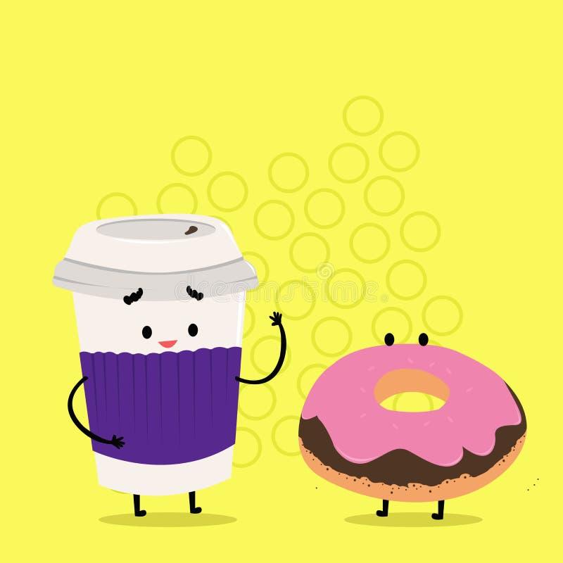 Pour aller tasse jetable avec le couvercle et la douille près du beignet givré Carry Out Coffee et petit pain doux avec le glaçag illustration de vecteur
