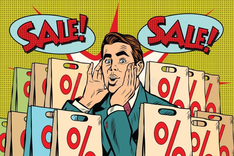 Pour cent d'acheteur d'homme d'art de bruit outre de vente illustration de vecteur