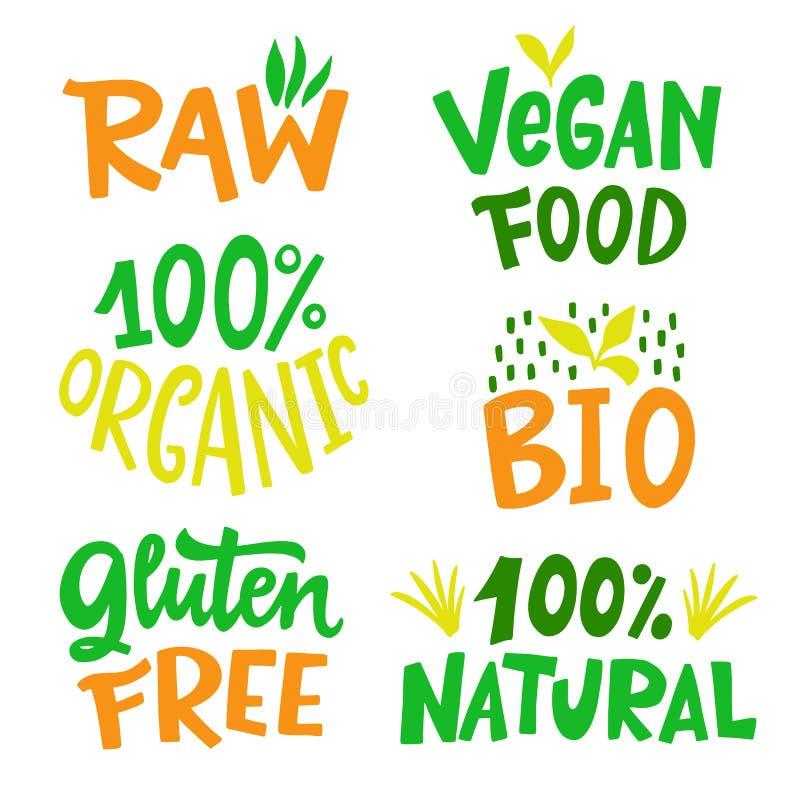 100 pour cent d'organique, gluten libre, Vegan, bio, Eco, ensemble naturel de signe de nourriture illustration libre de droits