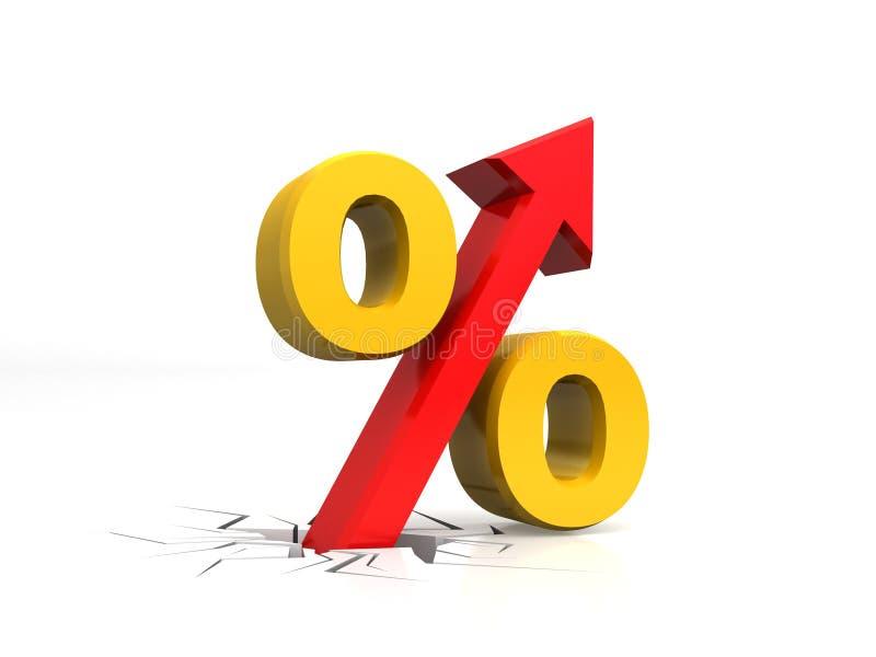 Pour cent de croissance, pour cent d'augmentation avec la flèche haute, avec le plancher cassé, rendu 3D d'isolement sur le fond  illustration libre de droits