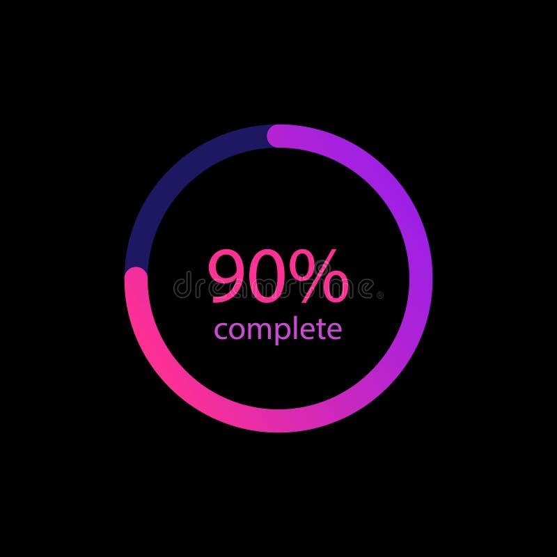 pour cent de 90% en cercle de couleur de gradient Icône colorée rougeoyante de chargeur Barres de chargement pour le Web, milieu  illustration de vecteur