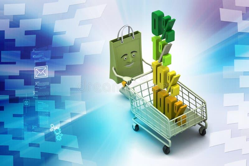 Pour cent de finances de concept avec le chariot à achats illustration de vecteur