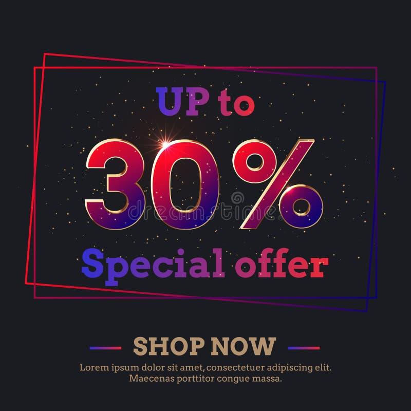 30 pour cent de fond de vente avec des nombres colorés de gradient illustration de vecteur
