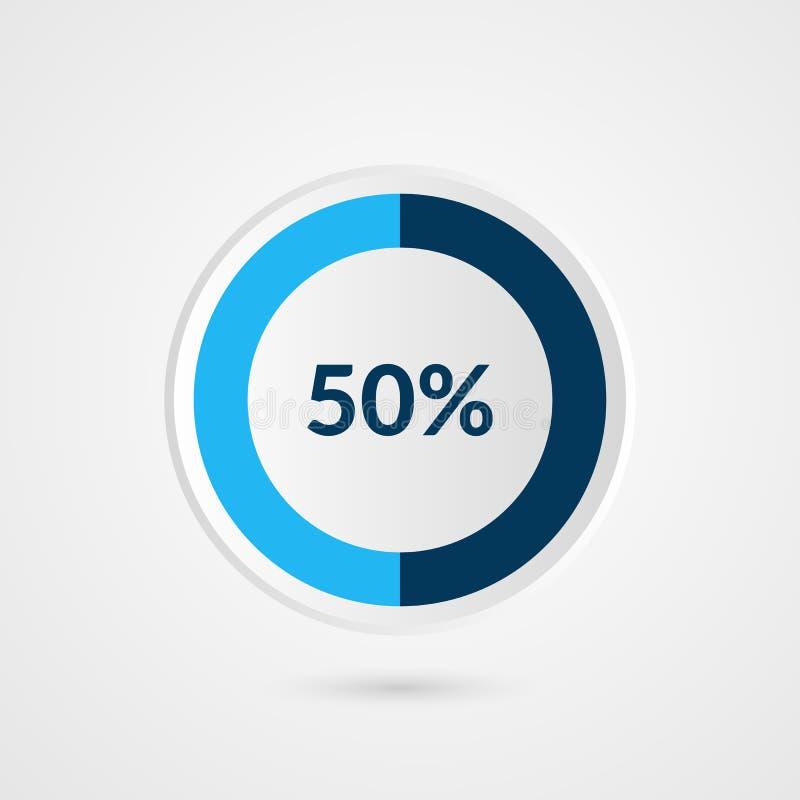 50 pour cent graphique circulaire de gris bleu et de blanc Infographics de vecteur de pourcentage Illustration d'affaires de diag illustration libre de droits