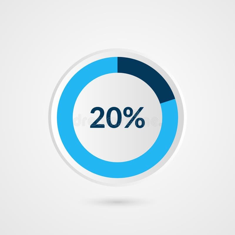 20 pour cent graphique circulaire de gris bleu et de blanc Infographics de vecteur de pourcentage Illustration d'affaires de diag illustration libre de droits