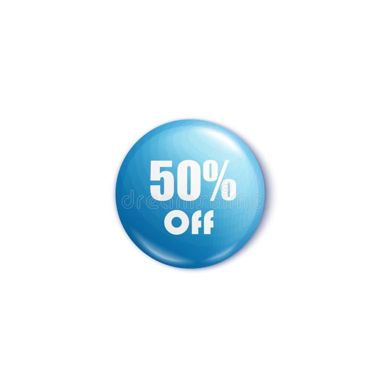 50 pour cent outre de goupille ou de bouton ronde bleue dans le style réaliste illustration de vecteur