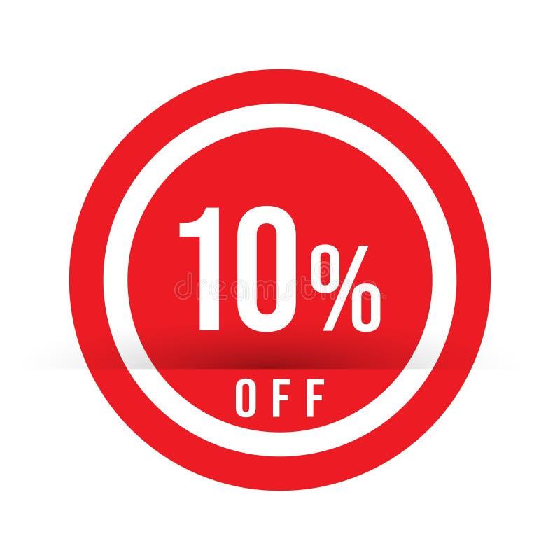 10 pour cent outre - timbre rouge de vente - de signe d'offre spéciale Illustration de vecteur illustration de vecteur