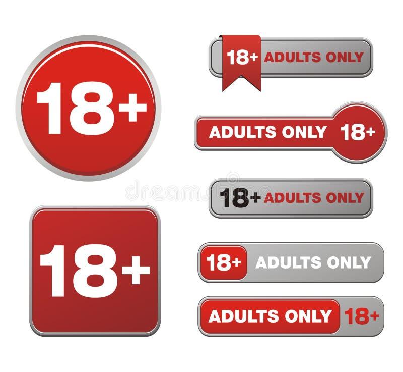 18 pour des ensembles de bouton d'adultes seulement illustration stock