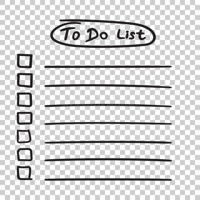 Pour faire l'icône de liste avec le texte tiré par la main Liste de contrôle, vecto de liste des tâches illustration libre de droits