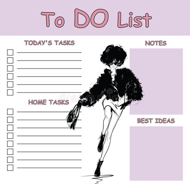 Pour faire la liste avec la femme de mode Illustration de vecteur illustration libre de droits
