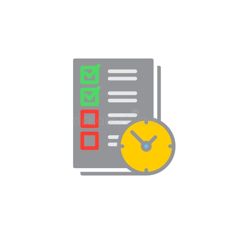 Pour faire la liste avec le vecteur d'icône d'horloge, signe plat rempli, pictogramme coloré solide d'isolement sur le blanc illustration stock