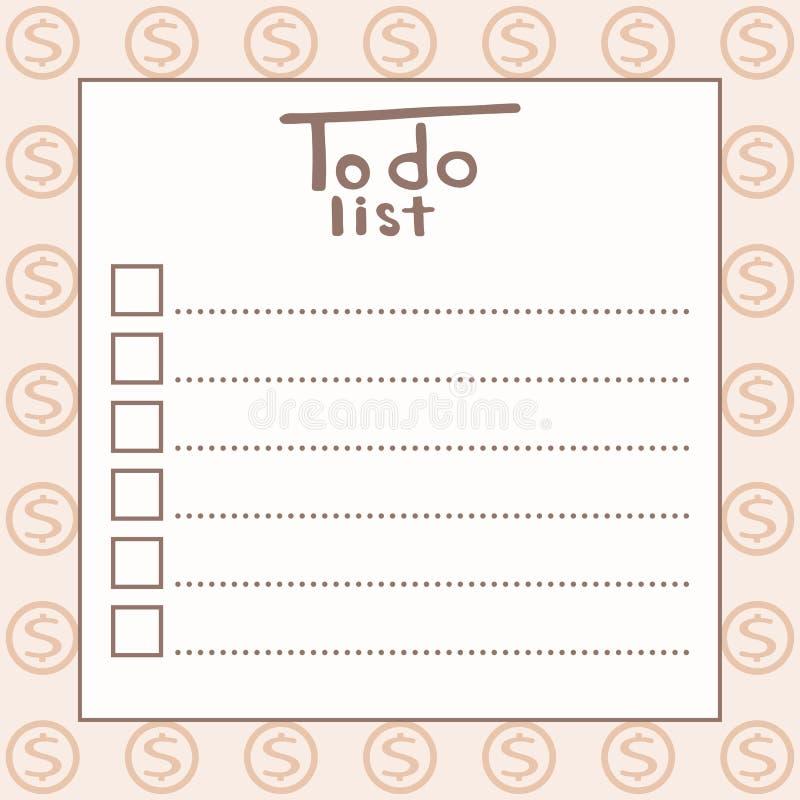 Pour faire la liste illustration stock